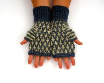 Mosaic Pattern fingerless gloves , Original unique design , Wool hand warmers , warm  armwarmers, winter accessories , fall accessories