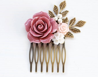 Dusty Pink Wedding Hair Comb Powder Pink Bridal Hair Comb Bridesmaids Hair Accessory Flower Girl Gift Pink Rose Hair Comb French Country