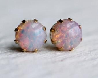 Pink Opal Earrings ... vintage pink fire stud earrings in brass gold settings