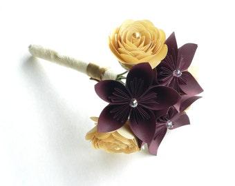 Marsala and Gold Wedding Bouquet, Rustic Wedding Bouquet, Unique Bridal Bouquets, Florist Bouquet, Gold Bridal Flowers Bouquets