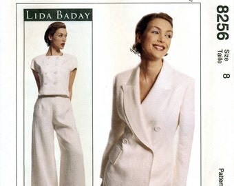 McCall's 8256 Misses' Jacket, Top and Pants Sewing Pattern by Lida Baday - Uncut - Size 8 - Bust 31.5