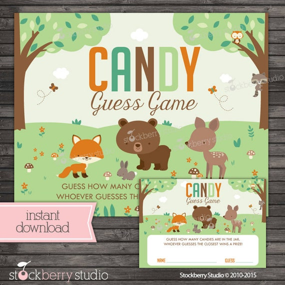 Candy Baby Shower Game: Woodland Baby Shower Candy Guessing Game Baby Shower