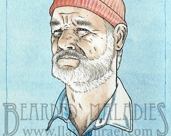 "Bill Murray greeting card, Life Aquatic with Steve Zissou, Blank inside 4.25"" x 5.5"", Wes Anderson, Owen Wilson"