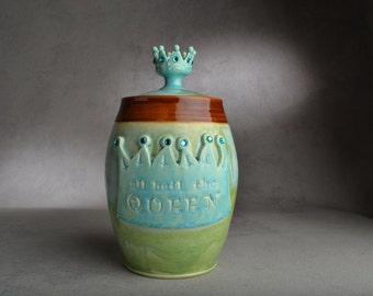 Cookie Jar Ready To Ship Hail The Queen Patina & Brown Cookie Jar by Symmetrical Pottery