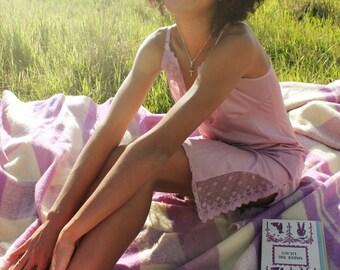 LAILAC Slip Dress Vintage Night Gown Lace Lingerie Pale Purple Nightil Layering