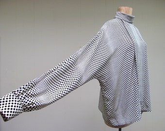 Vintage 1980s Blouse / 80s Oversized Silk Op Art Bill Haire Top / Medium - Large