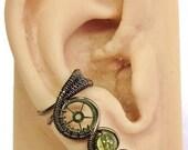 Peridot and Bronze Small Steampunk Ear Cuff - Steampunk Jewelry