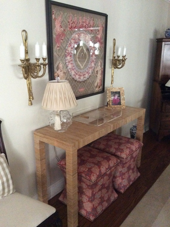 Grasscloth Covered Table - Custom Built To Suit Your Space - Design Your OWN