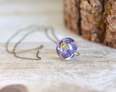 pansy viola flower necklace resin jewelry clear orb sphere necklace- flower jewelry, viola necklace , gift under 40, romantic jewelry