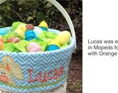 Boys Bunny Applique Easter Basket Liner & Basket ~ USA Made