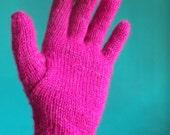 Bright Pink Full Fingered Knitted Gloves
