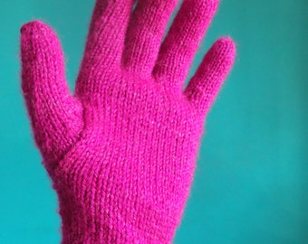 Bright Pink Full Fingered Knitted Gloves