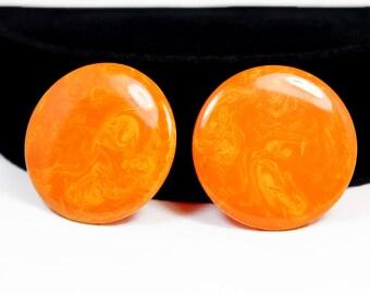 Yummy Tangerine Swirl Bakelite Disk Earrings