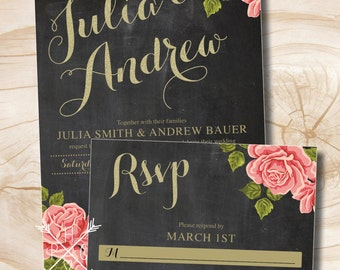 Chalkboard Gold Glitter Floral Wedding Invitation and Response Card Invitation Suite