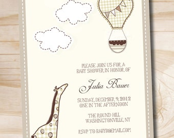 Giraffe and Hot Air Balloon Baby Shower Invitation - Printable Digital file or Printed Invitations