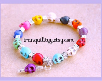 Day of the Dead  Howlite Skull Stretch Bracelet , Goth, Scene, Hipster,Handmade  By: Tranquilityy