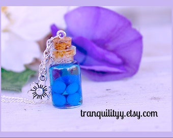 Nightlock Berries Necklace ,Potion Necklace Hunger Games Inspired , glass vial  1ml Bottle necklace,  By: Tranquilityy