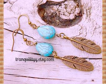 Leaf Earrings, Bohemian Earrings ,Leaf Dangle Earrings Bohemian Chic Turquoise Leaf Fall Earrings Handmade By: Tranquilityy