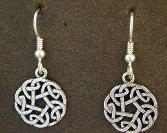 Sterling Silver Celtic Knot Earrings on Heavy Sterling Silver French Wires