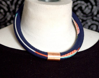 Arrows on Navy Fabric Rope Necklace with Copper Accent