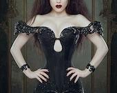 Dark Evil Queen 'Nocturnus' Crown Crystal Black Gothic Couture