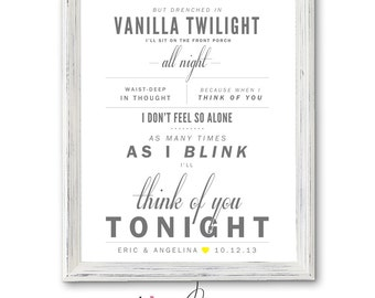 "Light Gray & Yellow, Owl City ""Vanila Twilight"" - Wedding Gift, Paper Anniversary Gift, Song Lyrics Wall Art Print - Qty. 1"