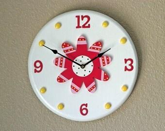 Flower Wall Clock, Children's Wall Clock, Wall Art, Home Decor, Children's Wall Decor, Flower Clock, Wall Clock, Nursery Clock, Wall Decor