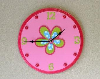 Pink Flower Wall Clock, Children's Wall Clock, Pink Clock, Flower Clock, Children's Wall Decor, Girls Room Decor, Nursery Clock, Wall Clocks
