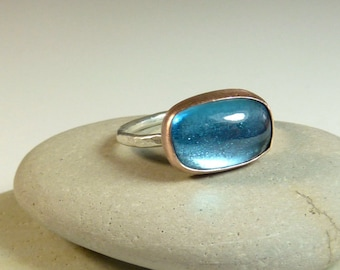Luscious London Blue Topaz and Pink Gold Ring- Ready to Ship