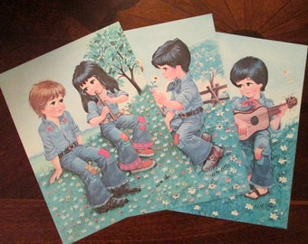 Vintage 70s Big Eye Lovers - Boy and Girl Sweethearts by Artist W. M. Otto - Ready to Frame - Your Choice of Flower, Guitar, or Lute Scene