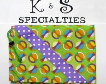 Laundry Bag In A Fun  Circle Fabric In Purple,Aqua,Yellow,Orange On Green Fabric/Gift:Graduation, Travel, Summer Camp, College, Fun Unique