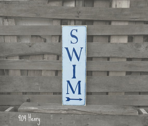 Wood Sign Swim Pool Sign Patio Art Summer Sign By Henryandanne