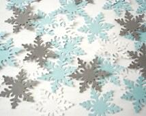50 Alpine Snowflake Confetti, Frozen Birthday Party Decoration, White, Baby Blue, Gray - No722