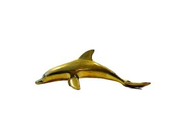 Vintage Mid Century Brass Dolphin Figurine, Heavy Brass Dolphin Weight
