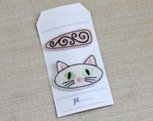 Girls Hair clip white Cat clip and pink and black wool hair clip