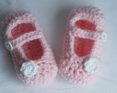 Crochet Pink Mary Jane Shoes - Size 6-9 Months - Ready to ship with Free shipping!