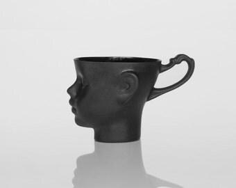 Porcelain doll head mug in black - whimsical black ceramic artisan cup, for coffee or tea