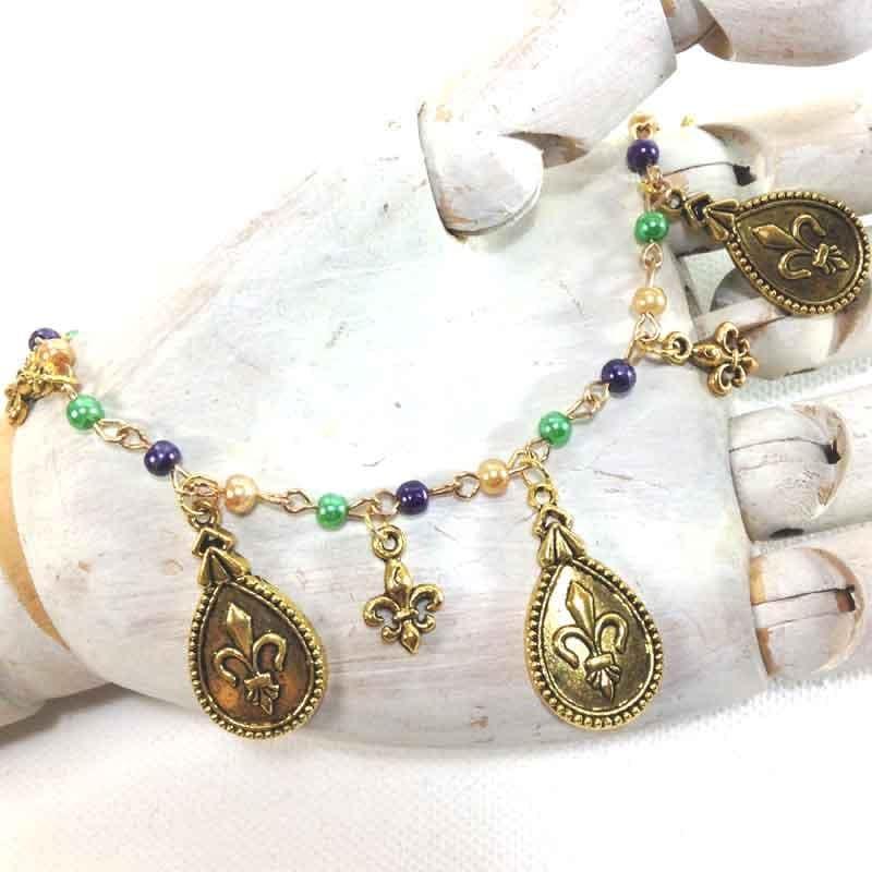 Fleur De Lis Charm Bracelet: Fleur De Lis Bracelet Mardi Gras Jewelry Funky By