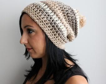 Caramel Pom Pom Ski Beanie Hat, Sandstone Blend Slouchy Beanie Hat, Neutral Tone Fashion Accessories