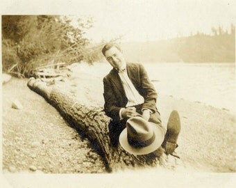 "Vintage Photo ""The Happiest Bump on a Log"" Smiling Snapshot Photo Old Antique Black & White Photograph Found Paper Ephemera Vernacular - 66"