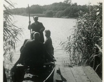 "Vintage Photo ""Dock of Silhouettes"" Beach Boat Snapshot Photo Old Antique Photo Black & White Photograph Found Photo Paper Ephemera - 125"