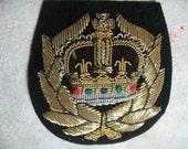 Beautiful Patch, Embroidered with Gold and Silver Wire, Crown in a Wreath, Very Detailed and Elegant