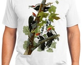 Pileated Woodpecker Birds Retro Men & Ladies T-shirt - Gift for Bird Lovers and Ornithologist (idc111)