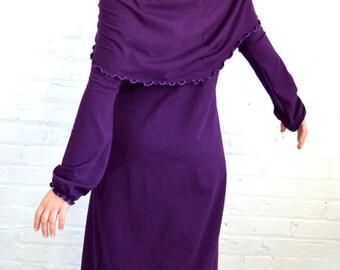 On Sale!!! Large Cowl Neck Dress in Plum Purple