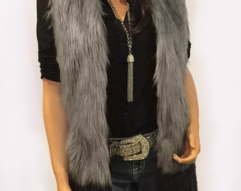 Long Faux Fur Vest In Silver Gray And Black Angora Fade Style: FVA509