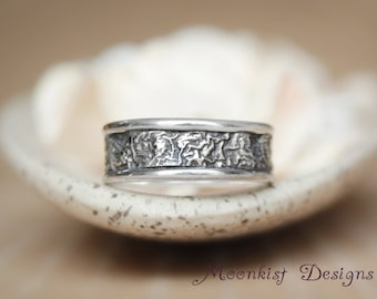 Narrow Reticulated Silver Unisex Wedding Band - Unique Rustic Engagement Band - Silver Anniversary Band - Unisex Contemporary Wedding Band