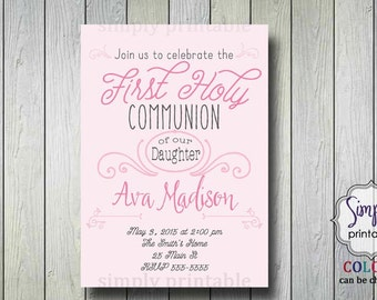 Girls Baptism or Communion Invite