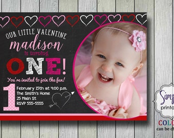 1st Birthday Valentine Invitation
