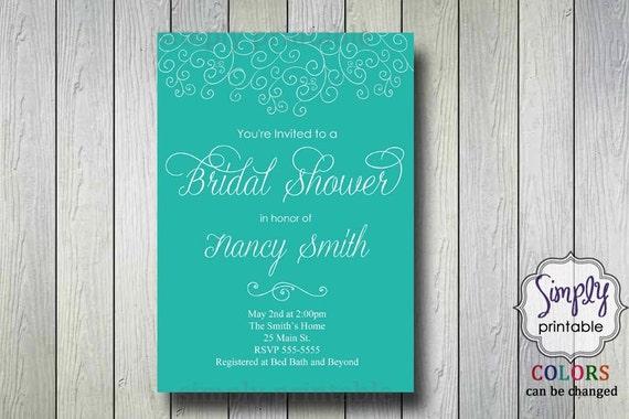 Teal Bridal Shower Invite (Printable)
