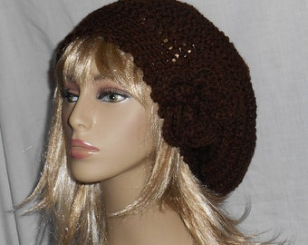 Espresso Brown Crochet Beret Souchy Hat with Removable Flower - FREE SHIPPING to US and Canada